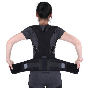 Adjustable Posture Correct Belt Back Lumbar Support Corrector Shoulder Band(Black M) - intl Price Philippines