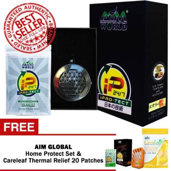 Aim Global Iprotect / Ipro-tect 24/7 BLACK EDITION Pendant and Packet with FREE Aim Global iPROTECT Home Set and Careleaf Thermal Relief Patch