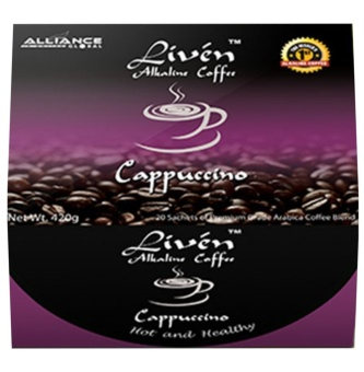 Alliance Global Liven Alkaline Coffee Cappuccino, Box of 20