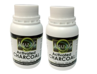 Amazing Food Supplement Activated Charcoal 500mg 100 Capsules Bottle Set of 2