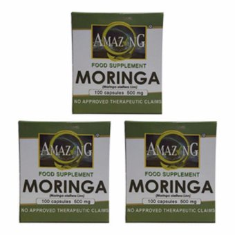 Amazing Food Supplement Moringa (Malunggay) Capsules 500mg Box of100 Set of 3