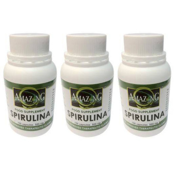 Amazing Food Supplement Spirulina 100% Pure Powder 500mg 100Capsules Set of 3