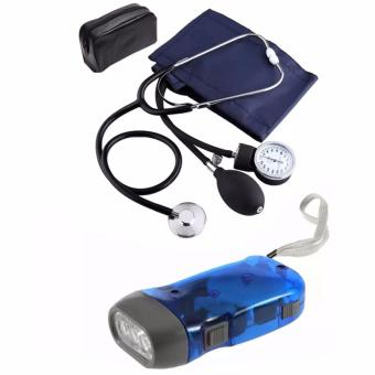 Aneroid Sphygmomanometer Blood Pressure Measure Device Kit CuffStethoscope with 3-LED Hand Press Crank Flashlight (Blue)
