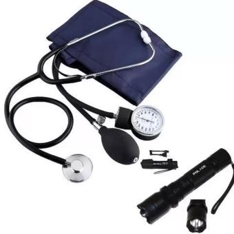 Aneroid Sphygmomanometer Blood Pressure Measure Device Kit CuffStethoscope with Rechargeable Police Flashlight with Stun Gun Taser(Black)