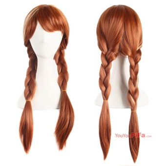 Anime Wigs Ice And Snow Anna With The Wigs Braids Brown Cosplay Wigs Hair Sets 61066 (Color: Light Brown) - intl - 2