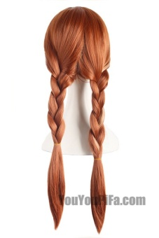 Anime Wigs Ice And Snow Anna With The Wigs Braids Brown Cosplay Wigs Hair Sets 61066 (Color: Light Brown) - intl - 4