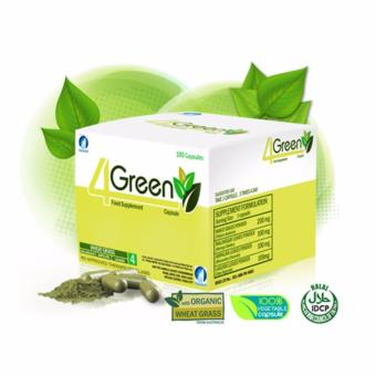 Authentic JC Premiere 4GREEN Food Supplement 100 VegetableCapsules, Box of 1