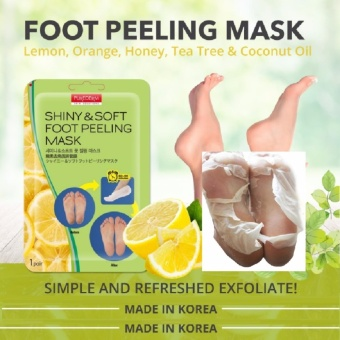 Authentic Korea Shiny and Soft Purederm Exfoliating Foot Peeling Mask Peels Away Calluses Dead Skin