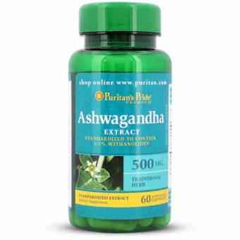 Authentic Puritan's Pride ASHWAGANDHA STANDARDIZED EXTRACT 500mgfor Testosterone Booster, increase Libido, parkinsons, alzheimersand over-all health bottle of 60 CAPSULES