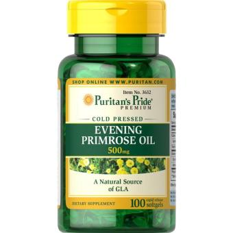Authentic Puritan's Pride Evening Primrose Oil 500mg gammalinolenic acid for Skin Brightening and Anti-ageing, Acne andeczema treatment, premenstrual syndrome (PMS), breast pain, and hotflashes bottle of 100 Softgels