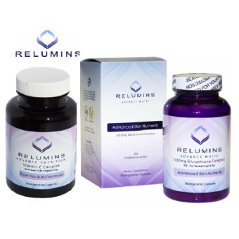 AUTHENTIC Relumins Advance White 1650mg Glutathione Skin-WhiteningAnti-aging Complex 15x NAC,Alpha Lipoic acid, Rose-hipsDermatologic Formula and Relumins Vitamin C Rosehips 60 caps SET
