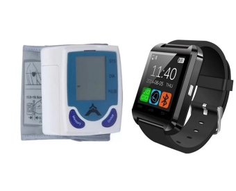 Automatic Wrist Blood Pressure Monitor With C-001 Bluetooth Touch Screen Smart Watch