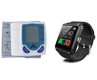 Automatic Wrist Blood Pressure Monitor With C-001 V3.0 Bluetooth Touch Screen Smart Watch