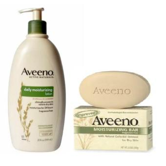 Aveeno Daily Moisturizing Lotion 591ml and Aveeno Active Naturals,Moisturizing Bar, Fragrance Free, 3.5 oz (100 g)
