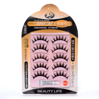 Beauty Life False Eyelashes with Eyelash Glue #B10 (Black)