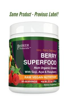 Berry Green Superfood With Goji- Acai & Raspberry- Raw Organic Nutrition- Vegan & Gluten Free - 240 Grams
