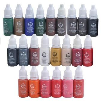 Besta 10 Colors Tattoo Makeup Permanent Tattoo Ink Set 15ml 1/2 OZ Each Bottle BioTouch Pigment for Eyebrow Embroidery Tattoo Makeup Pigment - intl