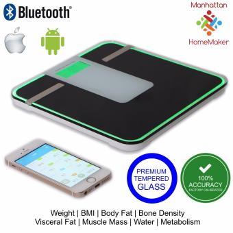 Bluetooth Digital Scale with BMI, Body Fat Analyzer, Bone Density,V-Fat, Muscle, Water, and Metabolism - Android and IphoneCompatible (180kg capacity) - Accuscale by Manhattan Homemaker