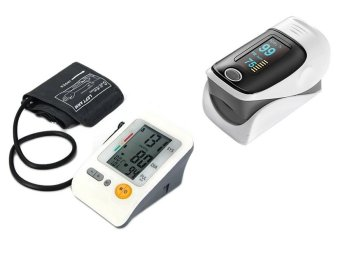 BP-103H AME Upper Arm Type Blood Pressure Monitor (White) With Universal Fingertip Pulse Oximeter