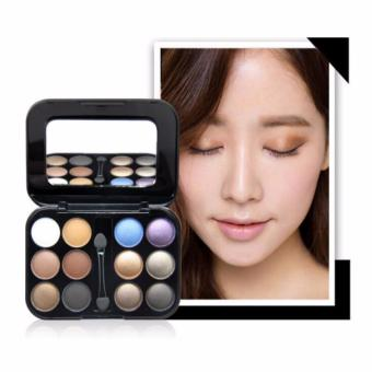 Brand New 12 Colors Eye shadow Makeup Palette High Quality Powder Smoky eyes Metal Naked Nude EyeShadow Cosmetics Brush & Mirror-4#