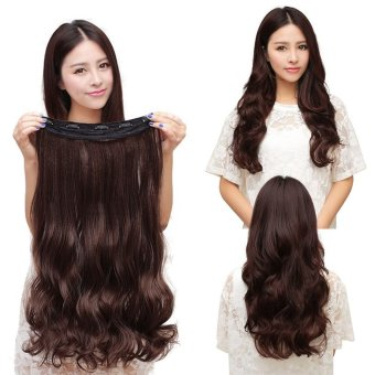 BUYINCOINS 60CM Clip in Synthetic Human Hair Extensions Long Wavy Curly Hair 5 Clips