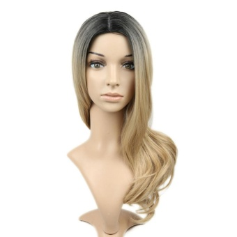 BUYINCOINS Women Ombre Black/Blonde Wave Curly Long Full Natural Hair Heat Resistant Synthetic Wigs+Cap Party Cosplay - intl