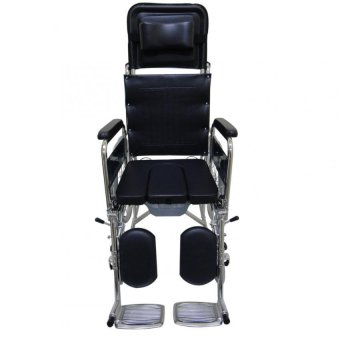 Care&Cure Heavy Duty Chrome Reclining Wheelchair with Commodeattachment (Silver) - 4