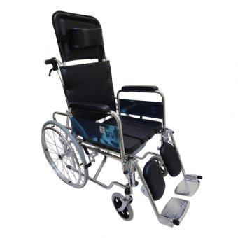 Care&Cure Heavy Duty Chrome Reclining Wheelchair with Commodeattachment (Silver) Price Philippines