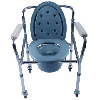 Care&Cure Heavy Duty Foldable Chrome Commode Chair Toilet withWheels (Silver) Price Philippines