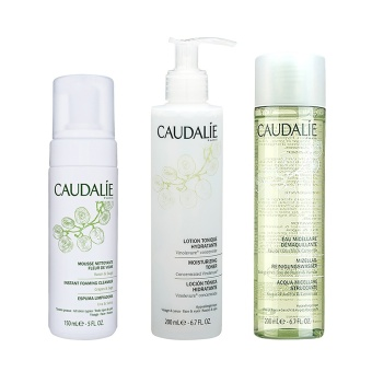 CAUDALIE Make-Up Remover Cleansing Water + Instant Foaming Cleanser + Moisturizing Toner (For All Skin Types) Kit Set - intl