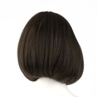 CHEER Korean Style Full Lace Human Short Hair Wigs Women Front Wig Curl Hair light brown - intl