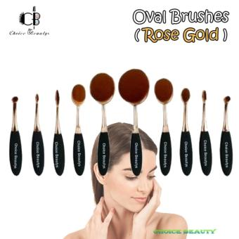 Choice Beautys 10Pcs Oval Cream Puff Cosmetic Shaped Power Makeup Toothbrush Foundation Brushes (Rose Gold)