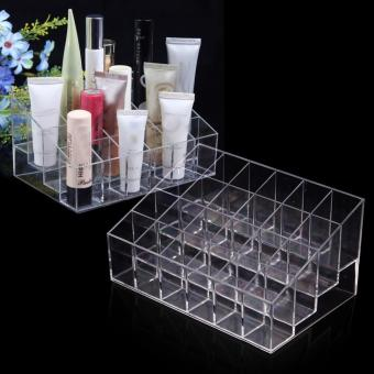Clear Acrylic 24 Lipstick Holder Display Stand Cosmetic Storage Rack Organizer Makeup Make up Case Box Container - intl