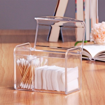 Clear Cotton Swab Box Acrylic Storage Holder 3 box Cosmetic MakeupCase With Lid - intl