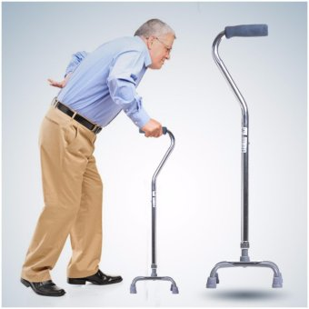 Cofoe Ultralight Adjustable height portable Walking Stick Aluminium Quad Cane - intl