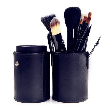 Cosmetic Professional Brushes 12 Piece Set with Makeup Tools Cup Holder (Black) - picture 2
