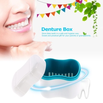 Denture Bath Box Case Dental False Teeth Cleaning Container Rinsing Basket Retainer Appliance Holder Tray - intl