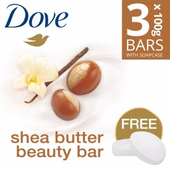 DOVE SOAP BAR SHEA BUTTER 3X100G FREE SOAP CASE