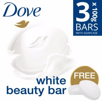 DOVE SOAP BAR WHITE BEAUTY 3X100G FREE SOAP CASE