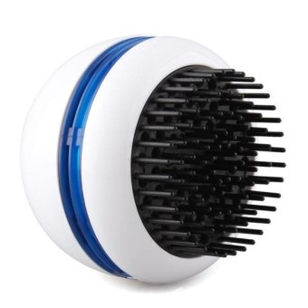 Electric Hair Scalp Head Massager Vibrating Comb Brush Round White