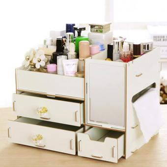 Elite ( Mixiuer ) DIY Wooden Cosmetic Make Up Jewelry Box Storage Organizer ( Large ) - #58 White