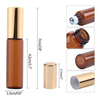 EsoGoal 5ml Amber Glass Roll-on Bottles With Stainless Steel Roller Ball for Essential Oil,Aromatherapy,Perfumes and Lip Balms,Set of 6 - intl - 2