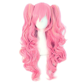 Fashion Cosplay Party Halloween Christmas Long Curly Hair Wigs Pink
