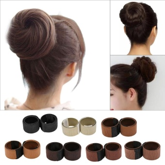 Fashion Lady Hair Styling Donut Twist Magic DIY Curler Maker Ball Shape Accessories Dark Coffee - intl
