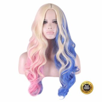 Fashion long Curly Wig Suicide Squad Harley Quinn Gradient Cosplay Wig - intl