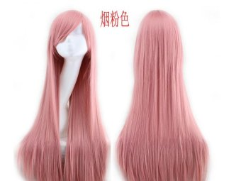 Fashion Long Wigs 80cm FemaleHair Extensions Cosplay Straight Anime Color Wigs - Pink - intl