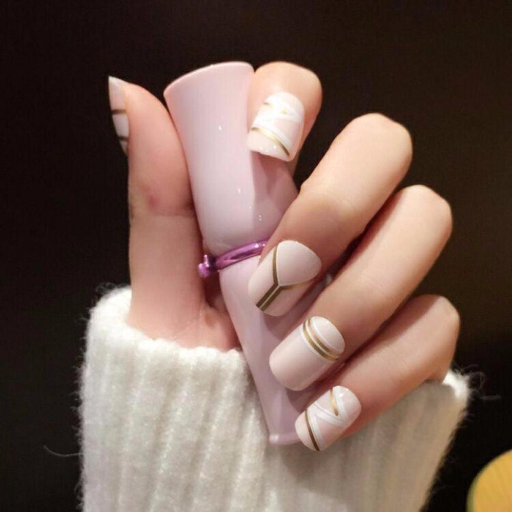 Philippines | Fashion Milk Fake Nails Cool Golden Stripe Style 24pcs ...