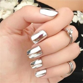 Fashion Mirror Glitter Powder Nail Art Pigment Chrome ManicureSilver - intl