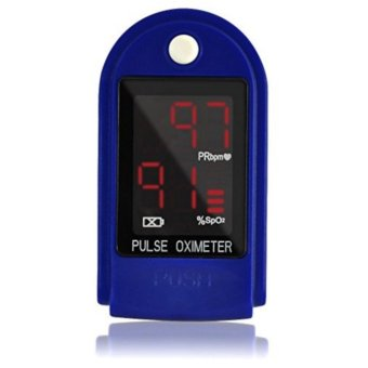 Finger Pulse Oximeter Blood Oxygen SpO2 Sports and Aviation Monitorw/ Carrying case (Blue)