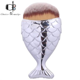 Fish-shaped Foundation Brush with Cover (Silver&Brown)